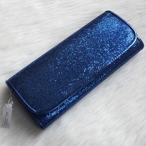 NEW Aldo Blue Sparkle Glitter Clutch NWT